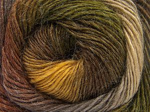 Fiber Content 60% Premium Acrylic, 20% Wool, 20% Alpaca, Brand Ice Yarns, Green Shades, Brown Shades, fnt2-69831