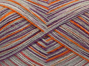 Fiber Content 85% Viscose, 15% Cashmere, White, Purple, Orange, Light Grey, Brand Ice Yarns, fnt2-69841