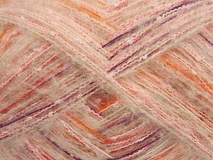 Fiber Content 54% Acrylic, 30% Wool, 15% Polyamide, 1% Elastan, White, Purple, Orange, Light Pink, Brand Ice Yarns, fnt2-70244