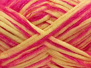 Fiber Content 33% Cotton, 23% Acrylic, 22% Polyamide, 21% Wool, 1% Elastan, Pink, Light Yellow, Brand Ice Yarns, fnt2-70257