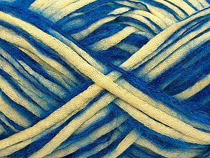 Fiber Content 33% Cotton, 23% Acrylic, 22% Polyamide, 21% Wool, 1% Elastan, Saxe Blue, Light Yellow, Brand Ice Yarns, fnt2-70258
