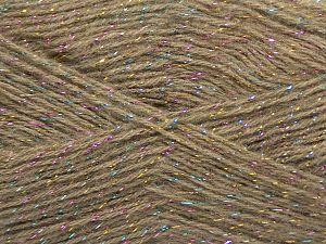 Fiber Content 75% Acrylic, 5% Lurex, 10% Wool, 10% Mohair, Light Camel, Iridescent, Brand Ice Yarns, fnt2-70387