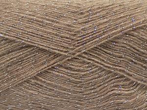 Fiber Content 75% Acrylic, 5% Lurex, 10% Wool, 10% Mohair, Milky Brown, Brand Ice Yarns, fnt2-70389