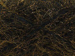 Fiber Content 8% Mohair, 40% Polyester, 30% Nylon, 12% Acrylic, 10% Wool, Brand Ice Yarns, Gold, Black, fnt2-70438