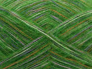 Fiber Content 73% Acrylic, 16% Wool, 10% Polyamide, 1% Elastan, White, Orange, Lilac, Brand Ice Yarns, Green, fnt2-70449