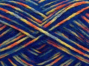 Fiber Content 50% Acrylic, 40% Wool, 10% Nylon, Yellow, Saxe Blue, Orange, Light Grey, Brand Ice Yarns, fnt2-70458