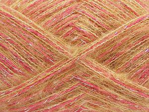Fiber Content 64% Acrylic, 5% Metallic Lurex, 20% Wool, 10% Polyamide, 1% Elastan, Silver, Pink, Milky Brown, Brand Ice Yarns, fnt2-70461