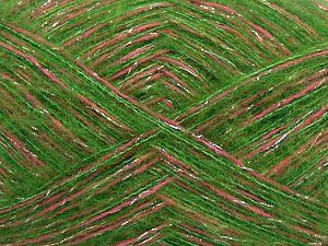 Fiber Content 64% Acrylic, 5% Metallic Lurex, 20% Wool, 10% Polyamide, 1% Elastan, Silver, Pink, Brand Ice Yarns, Green, fnt2-70465