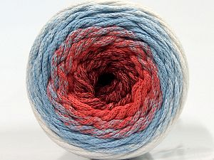 Please be advised that yarns are made of recycled cotton, and dye lot differences occur. Fiber Content 100% Cotton, White, Light Salmon, Light Blue, Brand Ice Yarns, Burgundy, Yarn Thickness 4 Medium Worsted, Afghan, Aran, fnt2-70667