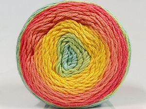 Fiber Content 90% Cotton, 10% Metallic Lurex, Yellow, Salmon Shades, Brand Ice Yarns, Green Shades, fnt2-70925