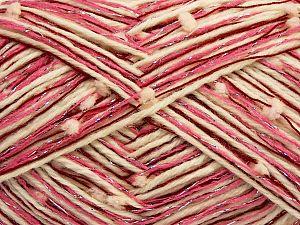 Fiber Content 50% Wool, 5% Metallic Lurex, 30% Acrylic, 15% Polyester, Red, Pink Shades, Brand Ice Yarns, Cream, fnt2-70950