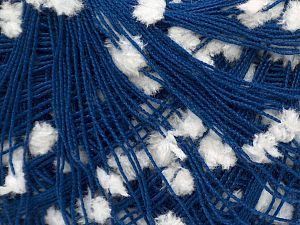 Fiber Content 90% Acrylic, 10% Polyester, White, Brand Ice Yarns, Dark Blue, fnt2-71249