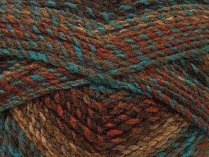 Fiber Content 100% Acrylic, Turquoise, Brand Ice Yarns, Brown Shades, fnt2-71630