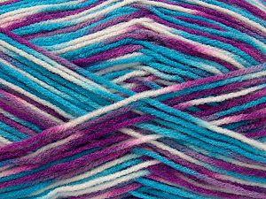 Fiber Content 100% Acrylic, White, Turquoise, Purple, Brand Ice Yarns, fnt2-71651