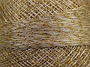 Fiber Content 70% Polyester, 30% Metallic Lurex, Brand YarnArt, Gold, Cream, Yarn Thickness 0 Lace  Fingering Crochet Thread, fnt2-17349