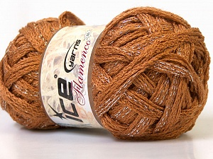 A beautiful new scarf yarn. One ball is enough to make a beautiful scarf. Knitting instructions are included! Fiber Content 95% Acrylic, 5% Lurex, Light Brown, Brand Ice Yarns, Yarn Thickness 6 SuperBulky Bulky, Roving, fnt2-21926