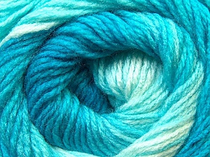 Fiber Content 100% Acrylic, White, Turquoise Shades, Brand Ice Yarns, Yarn Thickness 3 Light  DK, Light, Worsted, fnt2-22018