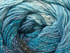 Fiber Content 95% Acrylic, 5% Lurex, White, Silver, Navy, Brand Ice Yarns, Blue, Black, Yarn Thickness 3 Light  DK, Light, Worsted, fnt2-22051