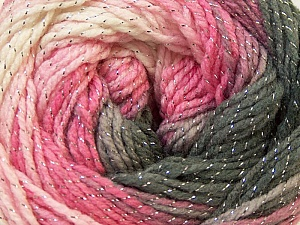 Fiber Content 95% Acrylic, 5% Lurex, White, Silver, Pink, Lilac, Brand Ice Yarns, Grey, Yarn Thickness 3 Light  DK, Light, Worsted, fnt2-22054