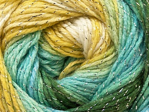 Fiber Content 95% Acrylic, 5% Lurex, Yellow, White, Turquoise, Brand Ice Yarns, Green, Yarn Thickness 3 Light  DK, Light, Worsted, fnt2-22055