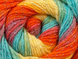 Fiber Content 95% Acrylic, 5% Lurex, Yellow, Orange, Light Blue, Brand ICE, Green, Yarn Thickness 3 Light  DK, Light, Worsted, fnt2-22057