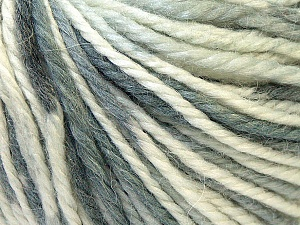 Fiber Content 40% Acrylic, 35% Wool, 25% Alpaca, White, Brand Ice Yarns, Grey Shades, Yarn Thickness 5 Bulky  Chunky, Craft, Rug, fnt2-25414