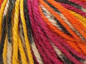 Fiber Content 40% Acrylic, 35% Wool, 25% Alpaca, Yellow, Orange, Brand Ice Yarns, Fuchsia, Yarn Thickness 5 Bulky  Chunky, Craft, Rug, fnt2-25424