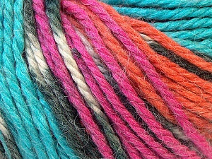 Fiber Content 40% Acrylic, 35% Wool, 25% Alpaca, Turquoise, Orange, Brand Ice Yarns, Fuchsia, Yarn Thickness 5 Bulky  Chunky, Craft, Rug, fnt2-25425