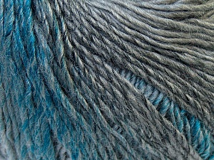 Fiber Content 50% Acrylic, 50% Wool, Turquoise, Brand Ice Yarns, Grey Shades, Yarn Thickness 3 Light  DK, Light, Worsted, fnt2-27152
