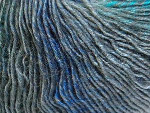 Fiber Content 50% Acrylic, 50% Wool, Turquoise, Brand Ice Yarns, Grey Shades, Blue, Yarn Thickness 3 Light  DK, Light, Worsted, fnt2-27153