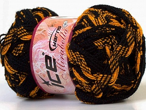 Fiber Content 97% Acrylic, 3% Lurex, Yellow, Brand ICE, Gold, Black, Yarn Thickness 6 SuperBulky Bulky, Roving, fnt2-27377