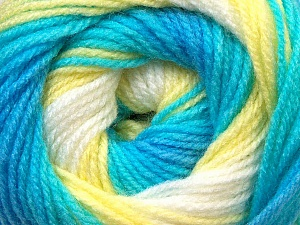 Fiber Content 100% Baby Acrylic, Yellow, White, Turquoise Shades, Brand Ice Yarns, Yarn Thickness 2 Fine Sport, Baby, fnt2-29605