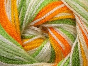 Fiber Content 100% Premium Acrylic, Yellow, White, Orange, Brand Ice Yarns, Green Shades, Yarn Thickness 3 Light  DK, Light, Worsted, fnt2-33398