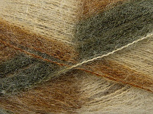 Fiber Content 70% Mohair, 30% Acrylic, Brand Ice Yarns, Green Shades, Cream, Yarn Thickness 3 Light  DK, Light, Worsted, fnt2-35065
