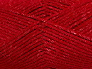 This is a tube-like yarn with soft fleece inside. Fiber Content 73% Viscose, 27% Polyester, Red, Brand Ice Yarns, Yarn Thickness 5 Bulky  Chunky, Craft, Rug, fnt2-35606