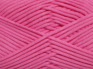 This is a tube-like yarn with soft fleece inside. Fiber Content 73% Viscose, 27% Polyester, Pink, Brand Ice Yarns, Yarn Thickness 5 Bulky  Chunky, Craft, Rug, fnt2-35610