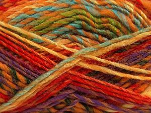 Fiber Content 75% Acrylic, 25% Wool, Yellow, Purple, Orange, Mint Green, Brand Ice Yarns, Gold, Yarn Thickness 5 Bulky Chunky, Craft, Rug, fnt2-40821