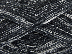 Strong pure cotton yarn in beautiful colours, reminiscent of bleached denim. Machine washable and dryable. Fiber Content 100% Cotton, Brand Ice Yarns, Grey, Black, Yarn Thickness 3 Light  DK, Light, Worsted, fnt2-42554