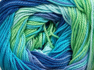 Fiber Content 100% Mercerised Cotton, Turquoise, Lilac, Brand Ice Yarns, Green, Blue Shades, Yarn Thickness 2 Fine  Sport, Baby, fnt2-44695