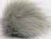 2 Faux Fur PomPoms Light Grey