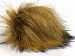 2 Faux Fur PomPoms Light Brown, Black