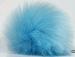 2 Faux Fur PomPoms Light Blue