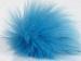 2 Faux Fur PomPoms Blue
