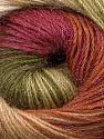 Fiber Content 57% Premium Acrylic, 3% Metallic Lurex, 20% Mohair, 20% Wool, Brand Ice Yarns, Green Shades, Burgundy, Brown, Yarn Thickness 2 Fine  Sport, Baby, fnt2-50321