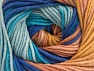 Fiber Content 55% Cotton, 45% Acrylic, Turquoise, Rose Brown, Brand Ice Yarns, Cafe Latte, Blue Shades, Yarn Thickness 3 Light  DK, Light, Worsted, fnt2-63394