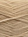Very thin yarn. It is spinned as two threads. So you will knit as two threads. Yardage information is for only one strand. Fiber Content 100% Acrylic, Brand Ice Yarns, Dark Beige, Yarn Thickness 1 SuperFine  Sock, Fingering, Baby, fnt2-66130