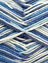 Fiber Content 50% Cotton, 50% Acrylic, White, Brand Ice Yarns, Blue Shades, Yarn Thickness 2 Fine  Sport, Baby, fnt2-66580