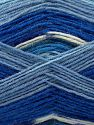 Fiber Content 75% Superwash Wool, 25% Polyamide, White, Purple, Brand Ice Yarns, Blue Shades, Yarn Thickness 1 SuperFine  Sock, Fingering, Baby, fnt2-67407