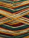 Fiber Content 75% Superwash Wool, 25% Polyamide, Brand Ice Yarns, Green Shades, Gold, Cream, Copper, Yarn Thickness 1 SuperFine  Sock, Fingering, Baby, fnt2-67418