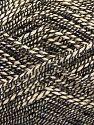 Fiber Content 50% Cotton, 38% Nylon, 12% Metallic Lurex, Brand Ice Yarns, Cream, Black, fnt2-68403